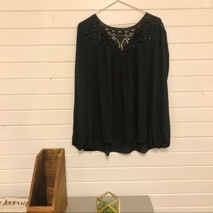 Parker Black Blouse with Lace Detail